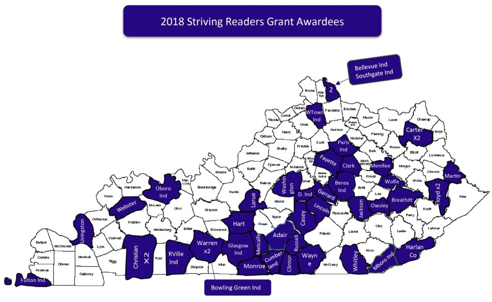Striving Readers map of Kentucky
